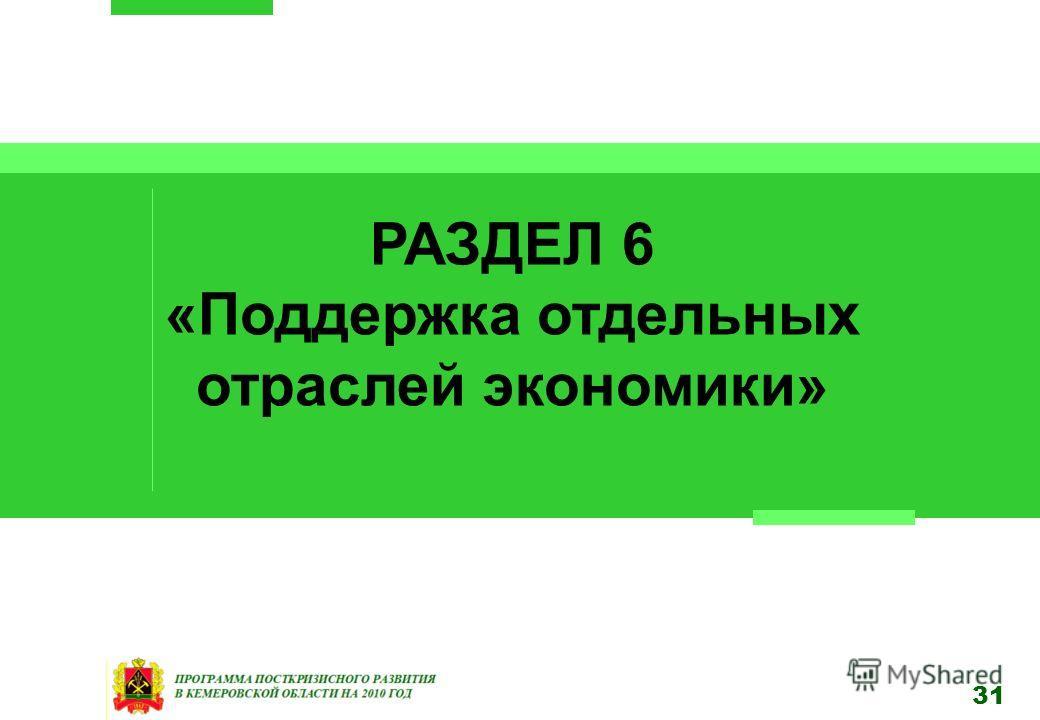 31 РАЗДЕЛ 6 «Поддержка отдельных отраслей экономики»