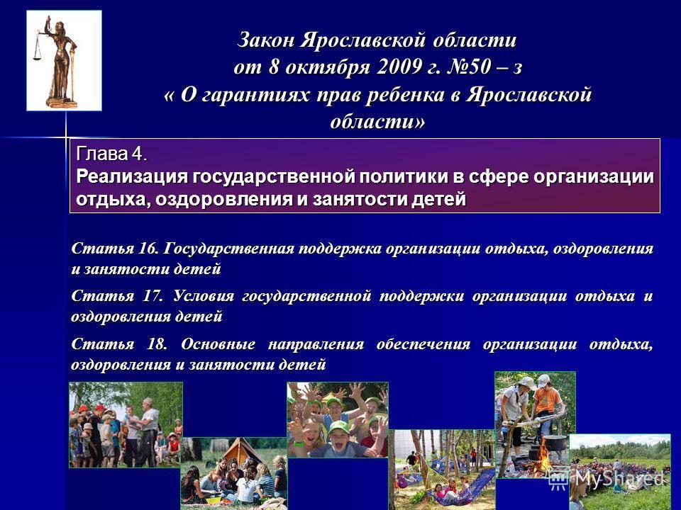 Закон Ярославской области от 8 октября 2009 г. 50 – з « О гарантиях прав ребенка в Ярославской области» Глава 4. Реализация государственной политики в сфере организации отдыха, оздоровления и занятости детей Статья 16. Государственная поддержка орган