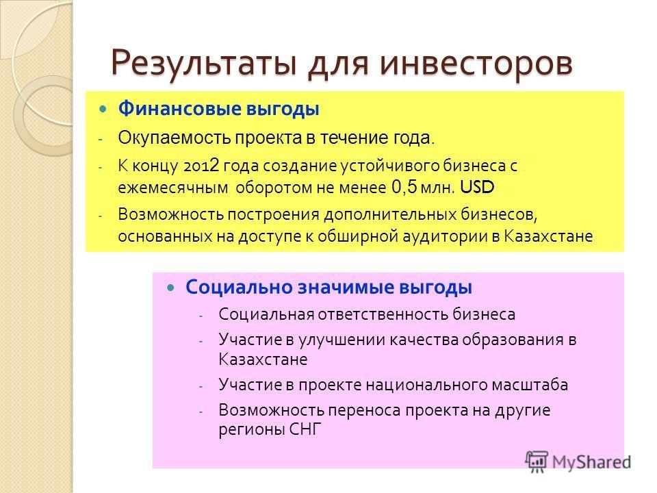 Выгоды от реализации проекта для Беларуси Будут получены дополнительные финансовые ресурсы за счет экспорта интеллектуальных образовательных продуктов, разработанных в рамках Государственной программы « Комплексная информатизация системы образования