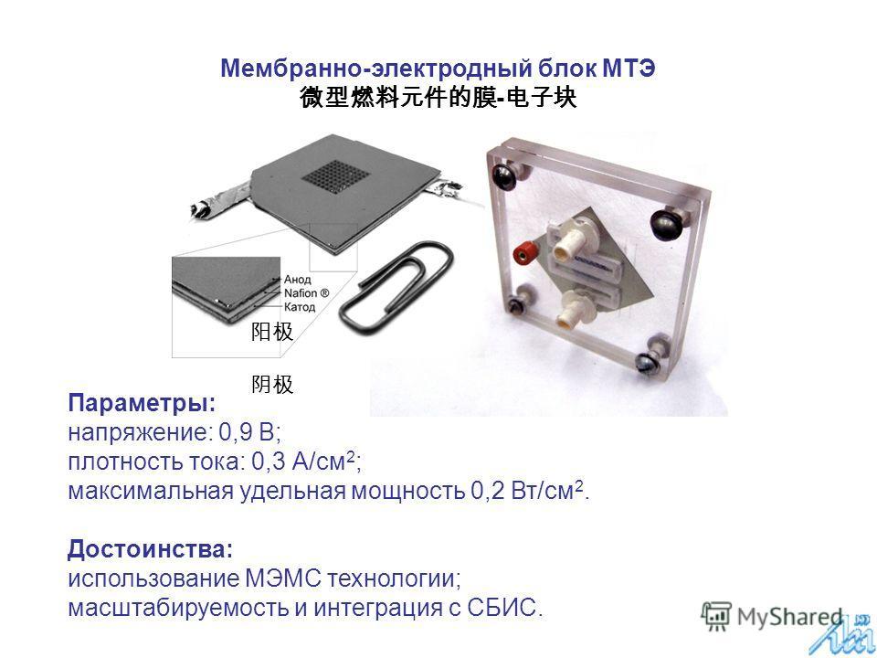 Параметры: напряжение: 0,9 В; плотность тока: 0,3 А/см 2 ; максимальная удельная мощность 0,2 Вт/см 2. Достоинства: использование МЭМС технологии; масштабируемость и интеграция с СБИС. Мембранно-электродный блок МТЭ -