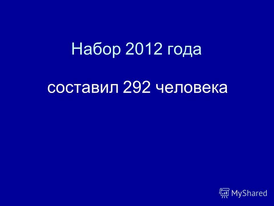 Набор 2012 года составил 292 человека