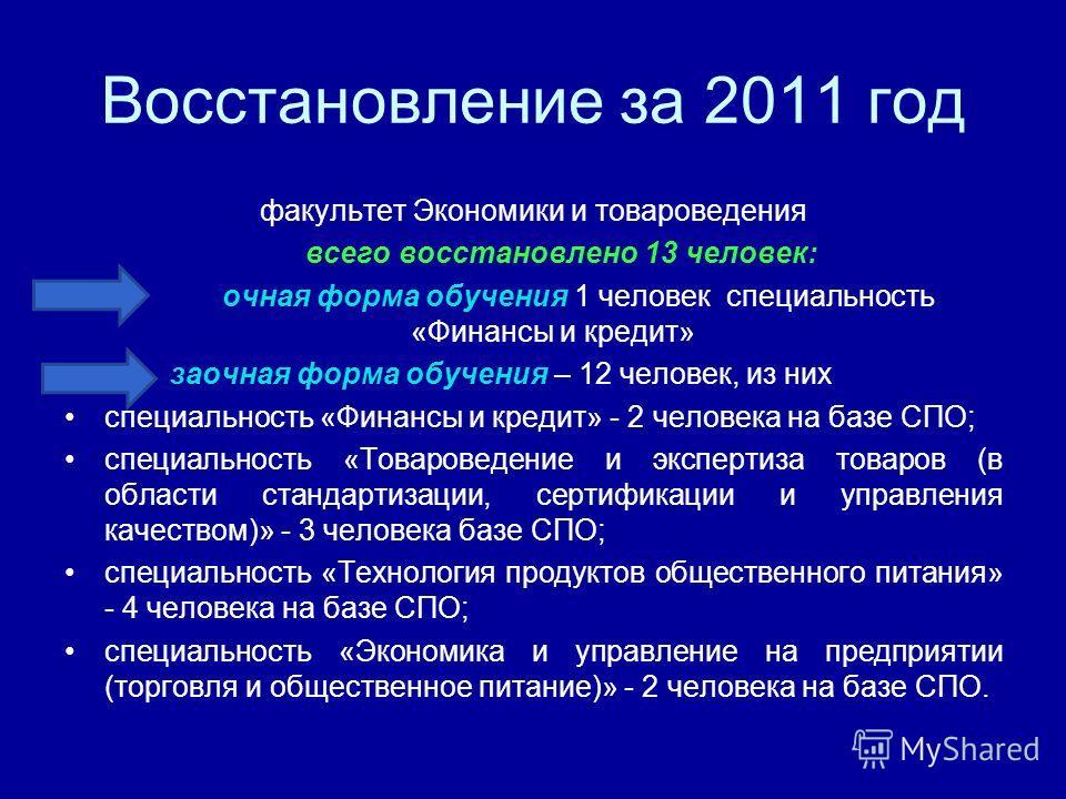 Восстановление за 2011 год факультет Экономики и товароведения всего восстановлено 13 человек: очная форма обучения 1 человек специальность «Финансы и кредит» заочная форма обучения – 12 человек, из них специальность «Финансы и кредит» - 2 человека н