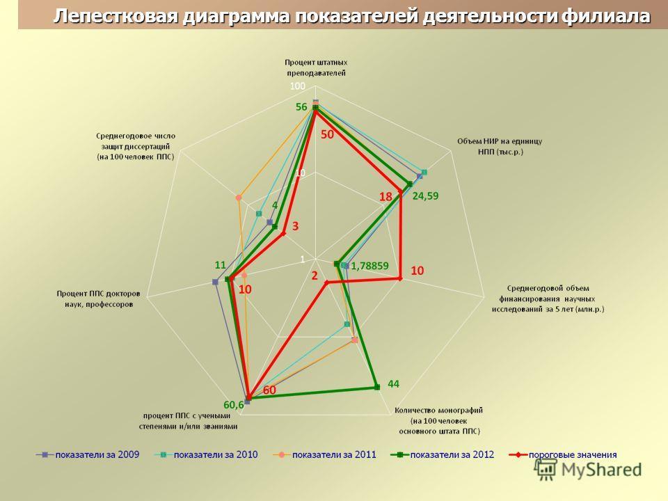Лепестковая диаграмма показателей деятельности филиала