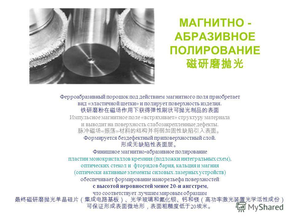 МАГНИТНО - АБРАЗИВНОЕ ПОЛИРОВАНИЕ Ферроабразивный порошок под действием магнитного поля приобретает вид «эластичной щетки» и полирует поверхность изделия. Импульсное магнитное поле «встряхивает» структуру материала и выводит на поверхность слабозакре