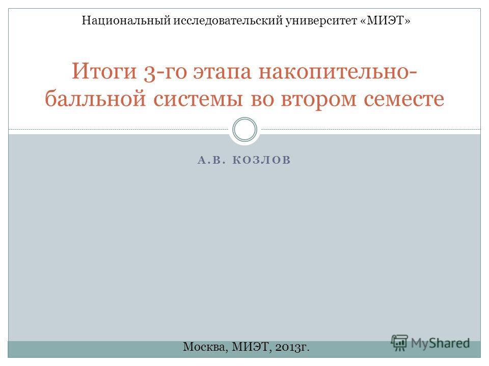 А.В. КОЗЛОВ Итоги 3-го этапа накопительно- балльной системы во втором семесте Национальный исследовательский университет «МИЭТ» Москва, МИЭТ, 2013г.