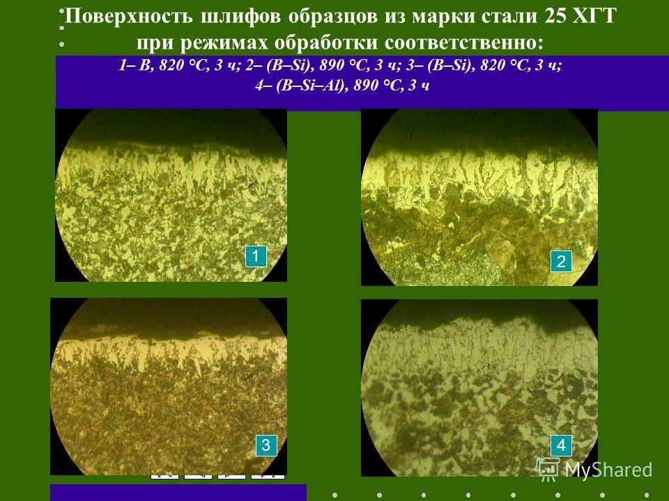 13.12.2013 13:51 Поверхность шлифов образцов из марки стали 25 ХГТ при режимах обработки соответственно: 1– B, 820 °С, 3 ч; 2– (B–Si), 890 °С, 3 ч; 3– (B–Si), 820 °С, 3 ч; 4– (B–Si–Al), 890 °С, 3 ч 1 2 34