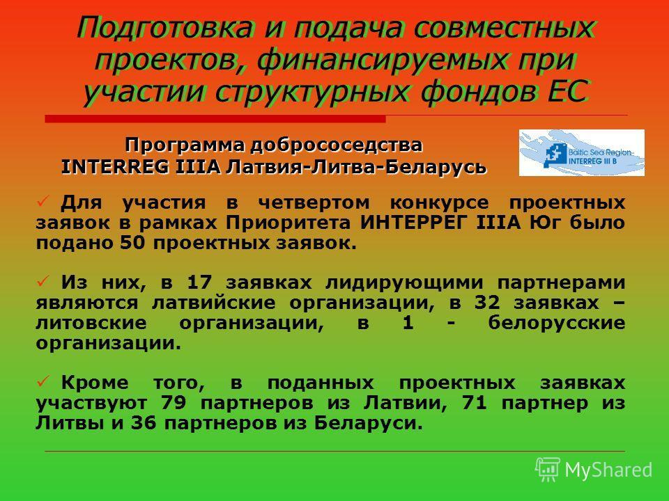 Подготовка и подача совместных проектов, финансируемых при участии структурных фондов ЕС Программа добрососедства INTERREG IIIA Латвия-Литва-Беларусь Для участия в четвертом конкурсе проектных заявок в рамках Приоритета ИНТЕРРЕГ IIIА Юг было подано 5