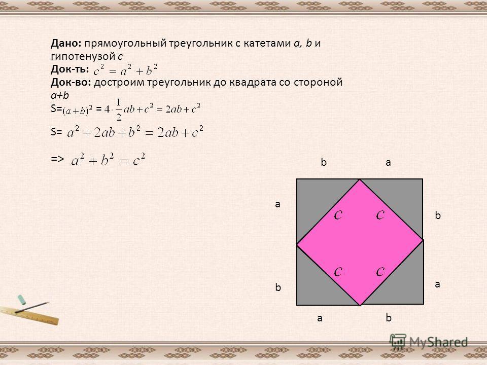Дано: прямоугольный треугольник с катетами а, b и гипотенузой с Док-ть: Док-во: достроим треугольник до квадрата со стороной a+b S= = S= => b a b a b b a a