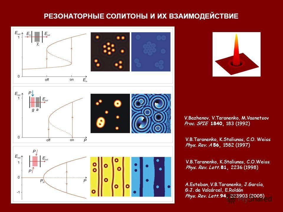 V.Bazhenov, V.Taranenko, M.Vasnetsov Proc. SPIE 1840, 183 (1992) V.B.Taranenko, K.Staliunas, C.O. Weiss Phys. Rev. A 56, 1582 (1997) V.B.Taranenko, K.Staliunas, C.O.Weiss Phys. Rev. Lett. 81, 2236 (1998) A.Esteban, V.B.Taranenko, J.García, G.J. de Va
