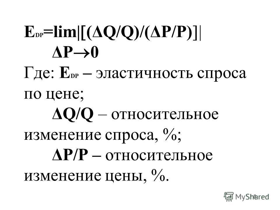 8 Е DP =lim| (ΔQ/Q)/(ΔP/P) ΔP 0 Где: Е DP – эластичность спроса по цене; ΔQ/Q – относительное изменение спроса, %; ΔP/P – относительное изменение цены, %.
