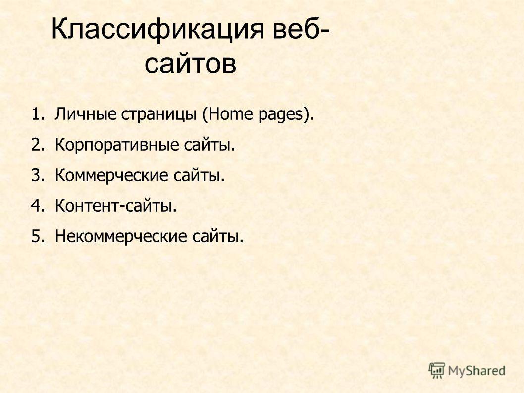 Классификация веб- сайтов 1.Личные страницы (Home pages). 2.Корпоративные сайты. 3.Коммерческие сайты. 4.Контент-сайты. 5.Некоммерческие сайты.