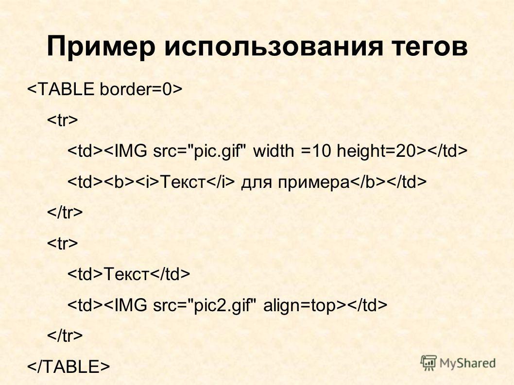 Пример использования тегов Текст для примера Текст