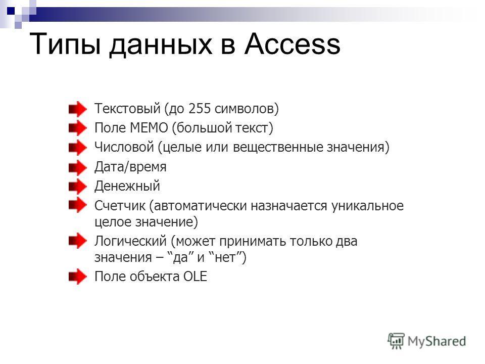 Типы данных в Access Текстовый (до 255 символов) Поле МЕМО (большой текст) Числовой (целые или вещественные значения) Дата/время Денежный Счетчик (автоматически назначается уникальное целое значение) Логический (может принимать только два значения –