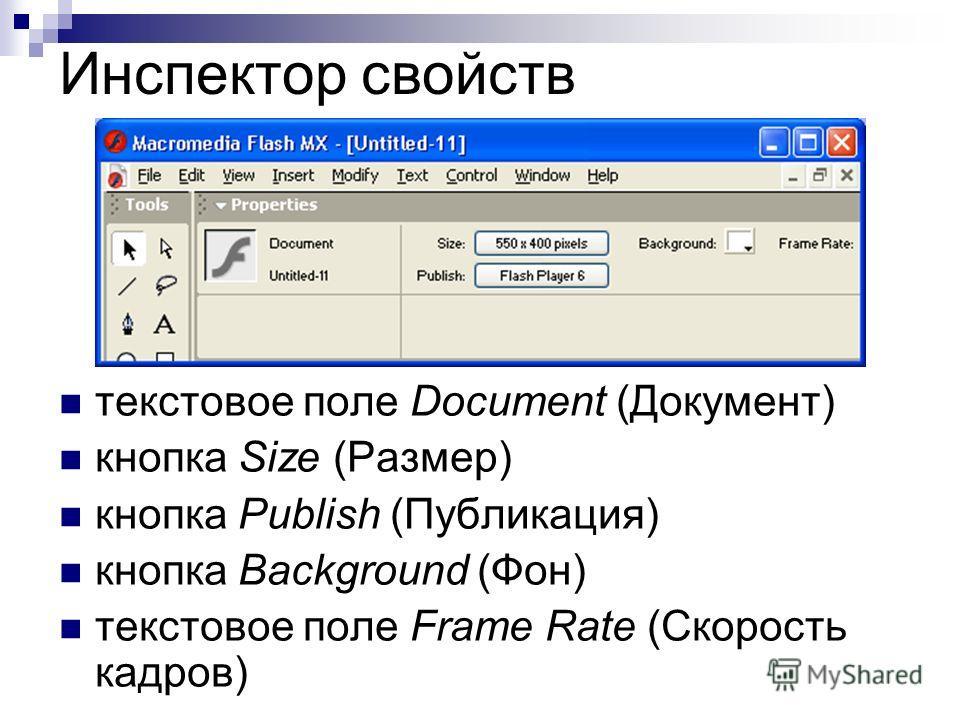 Инспектор свойств текстовое поле Document (Документ) кнопка Size (Размер) кнопка Publish (Публикация) кнопка Background (Фон) текстовое поле Frame Rate (Скорость кадров)