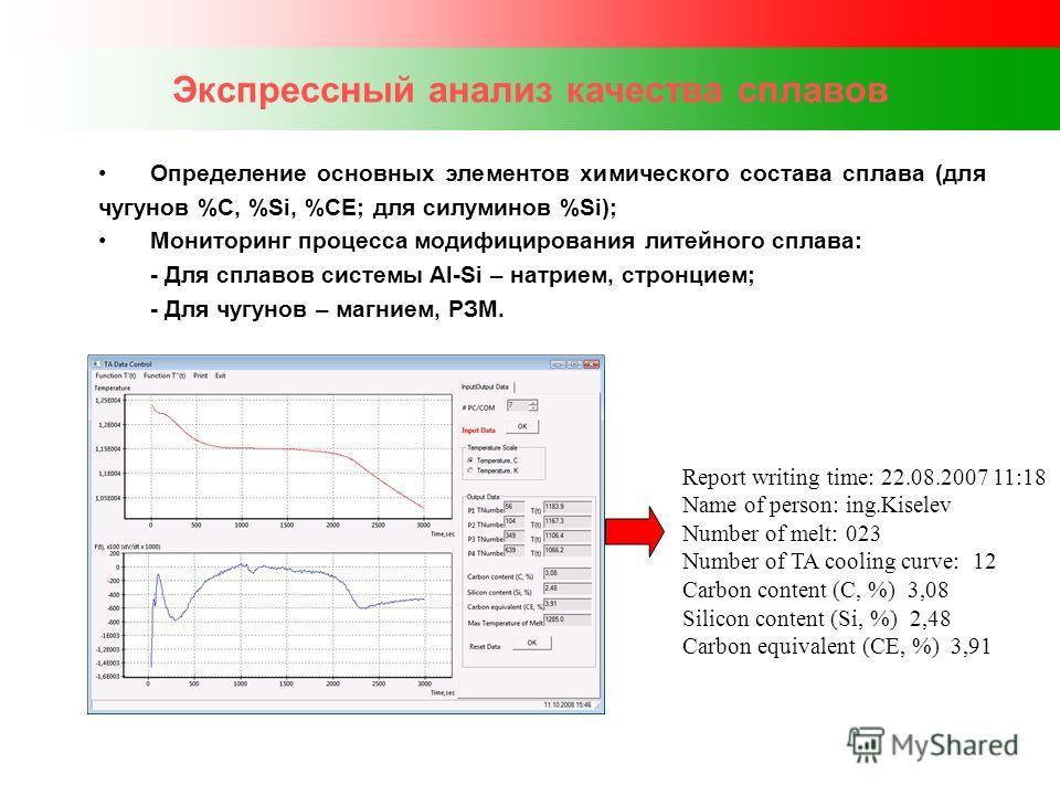 Экспрессный анализ качества сплавов Определение основных элементов химического состава сплава (для чугунов %С, %Si, %СЕ; для силуминов %Si); Мониторинг процесса модифицирования литейного сплава: - Для сплавов системы Al-Si – натрием, стронцием; - Для