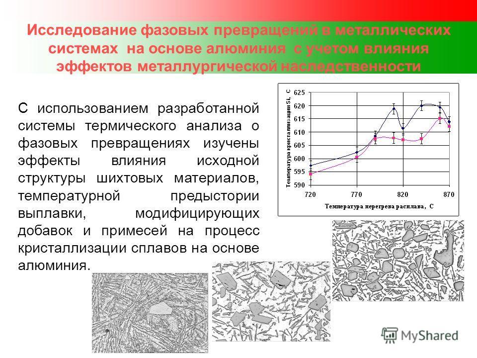 Исследование фазовых превращений в металлических системах на основе алюминия с учетом влияния эффектов металлургической наследственности С использованием разработанной системы термического анализа о фазовых превращениях изучены эффекты влияния исходн