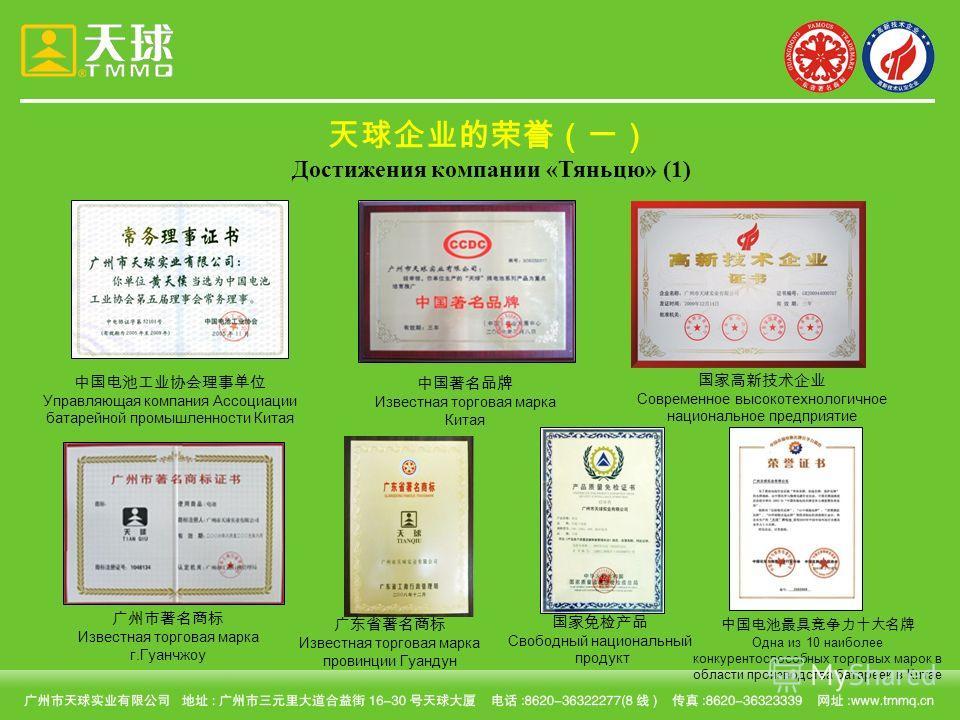 Достижения компании «Тяньцю» (1) Управляющая компания Ассоциации батарейной промышленности Китая Известная торговая марка Китая Известная торговая марка г.Гуанчжоу Известная торговая марка провинции Гуандун Одна из 10 наиболее конкурентоспособных тор