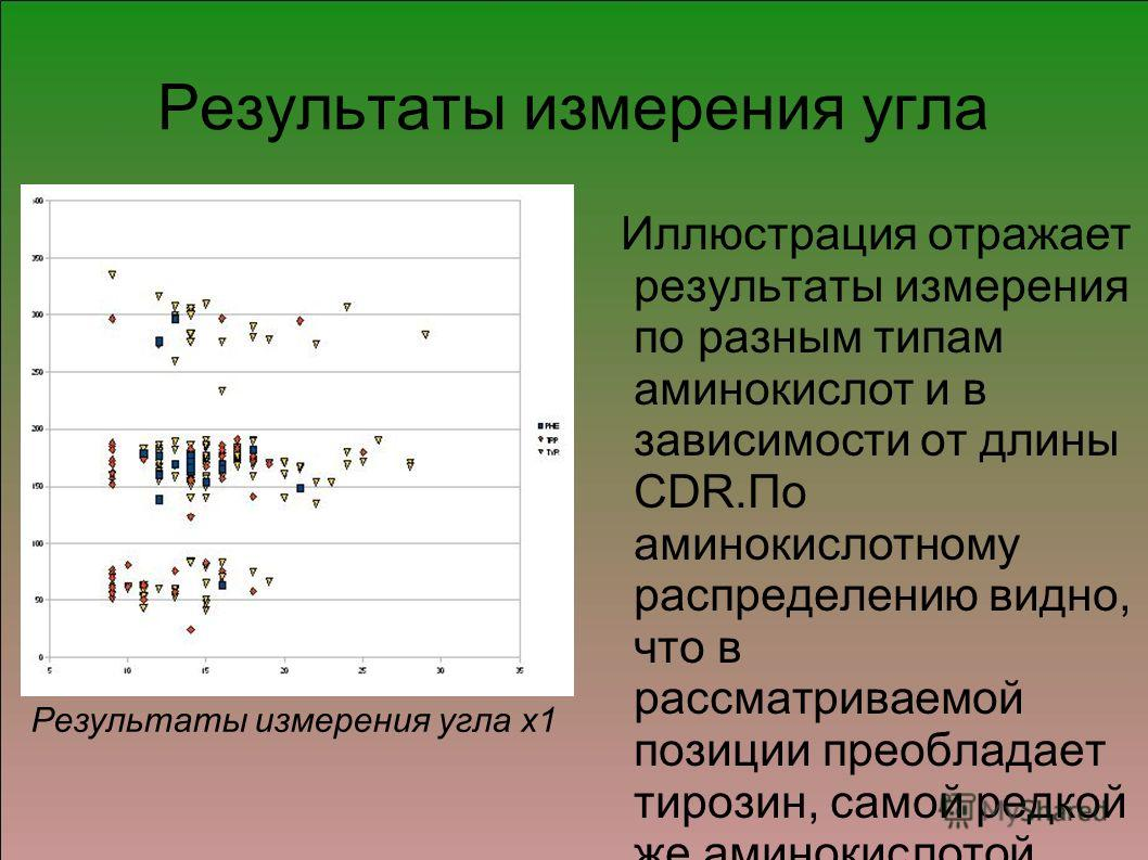 Результаты измерения угла Иллюстрация отражает результаты измерения по разным типам аминокислот и в зависимости от длины CDR.По аминокислотному распределению видно, что в рассматриваемой позиции преобладает тирозин, самой редкой же аминокислотой явля