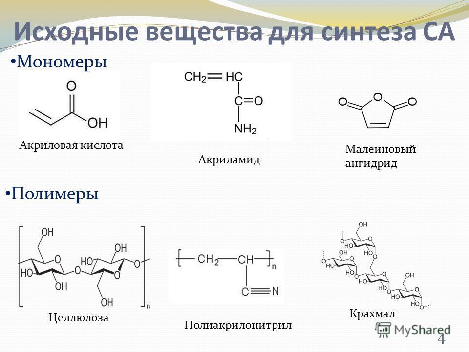 Исходные вещества для синтеза СА Акриловая кислота Крахмал Малеиновый ангидрид Акриламид Полиакрилонитрил Целлюлоза Мономеры Полимеры 4