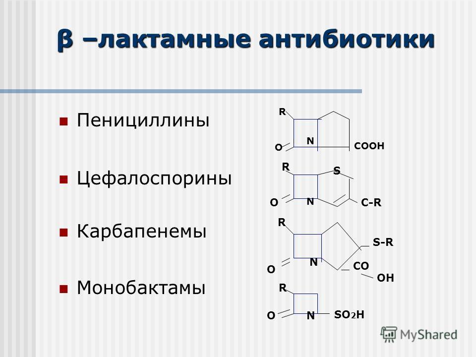 Пенициллины Цефалоспорины Карбапенемы Монобактамы β –лактамные антибиотики R O N COOH O R N S C-R R O N S-R CO OH R ON SO 2 H