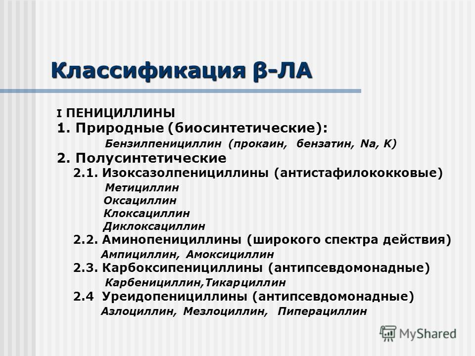 Классификация β-ЛА I ПЕНИЦИЛЛИНЫ 1. Природные (биосинтетические): Бензилпенициллин (прокаин, бензатин, Na, K) 2. Полусинтетические 2.1. Изоксазолпенициллины (антистафилококковые) Метициллин Оксациллин Клоксациллин Диклоксациллин 2.2. Аминопенициллины
