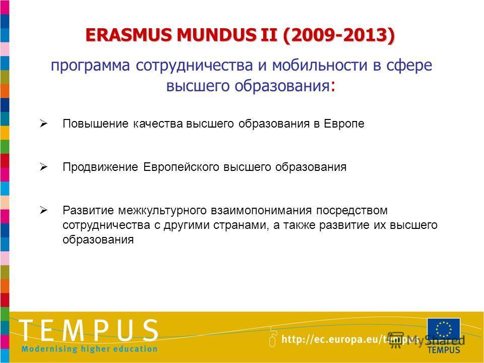 ERASMUS MUNDUS II (2009-2013) программа сотрудничества и мобильности в сфере высшего образования : Повышение качества высшего образования в Европе Продвижение Европейского высшего образования Развитие межкультурного взаимопонимания посредством сотруд
