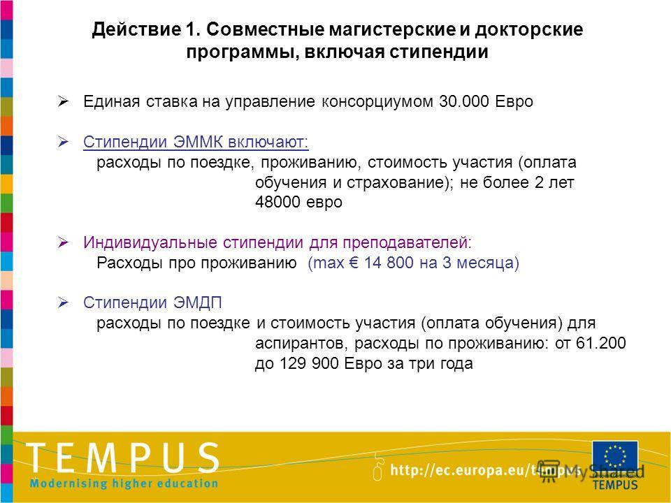 Единая ставка на управление консорциумом 30.000 Евро Стипендии ЭММК включают: расходы по поездке, проживанию, стоимость участия (оплата обучения и страхование); не более 2 лет 48000 евро Индивидуальные стипендии для преподавателей: Расходы про прожив