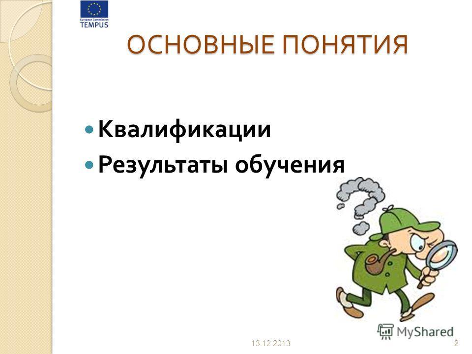 ОСНОВНЫЕ ПОНЯТИЯ Квалификации Результаты обучения 13.12.20132
