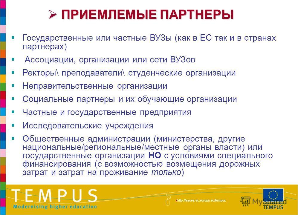 http://eacea.ec.europa.eu/tempus/index_en.php ПРИЕМЛЕМЫЕ ПАРТНЕРЫ ПРИЕМЛЕМЫЕ ПАРТНЕРЫ Государственные или частные ВУЗы (как в ЕС так и в странах партнерах) Ассоциации, организации или сети ВУЗов Ректоры\ преподаватели\ студенческие организации Неправ