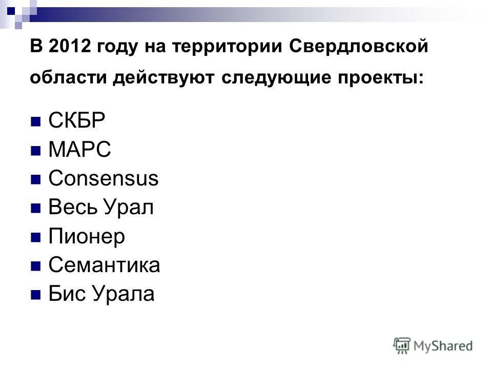 В 2012 году на территории Свердловской области действуют следующие проекты: СКБР МАРС Consensus Весь Урал Пионер Семантика Бис Урала
