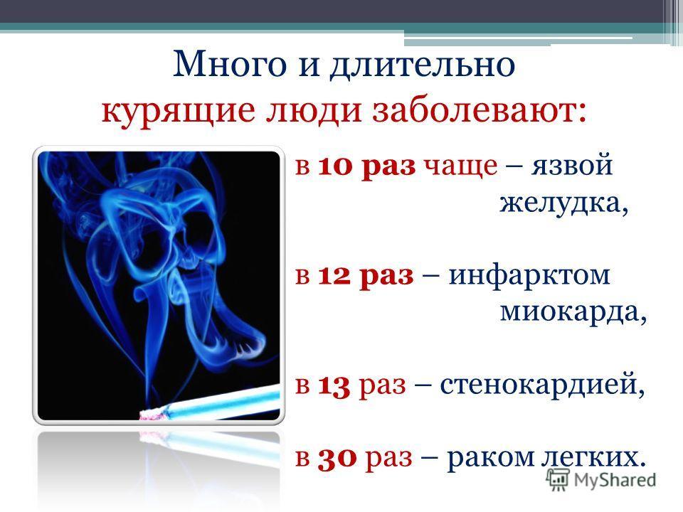 в 10 раз чаще – язвой желудка, в 12 раз – инфарктом миокарда, в 13 раз – стенокардией, в 30 раз – раком легких. Много и длительно курящие люди заболевают: