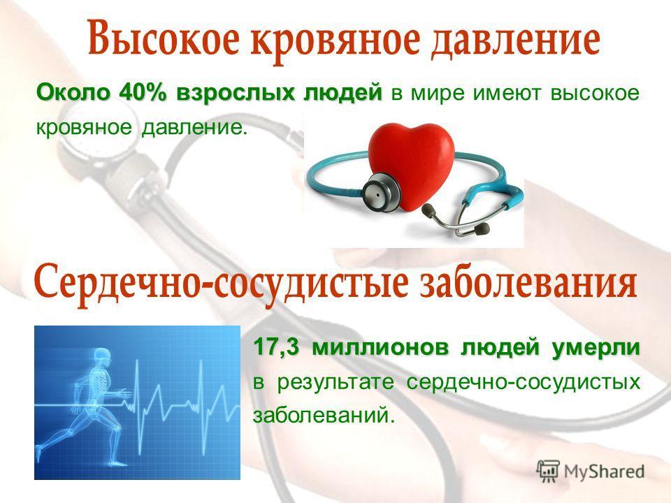 17,3 миллионов людей умерли 17,3 миллионов людей умерли в результате сердечно-сосудистых заболеваний. Около 40% взрослых людей Около 40% взрослых людей в мире имеют высокое кровяное давление.