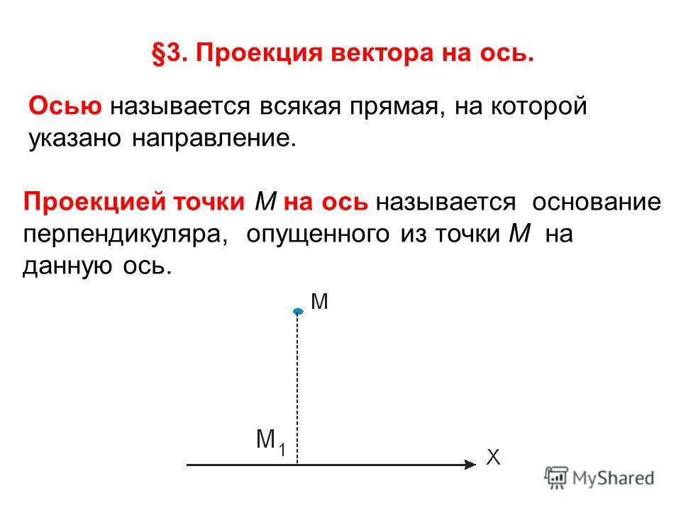 §3. Проекция вектора на ось. Осью называется всякая прямая, на которой указано направление. Проекцией точки М на ось называется основание перпендикуляра, опущенного из точки М на данную ось.