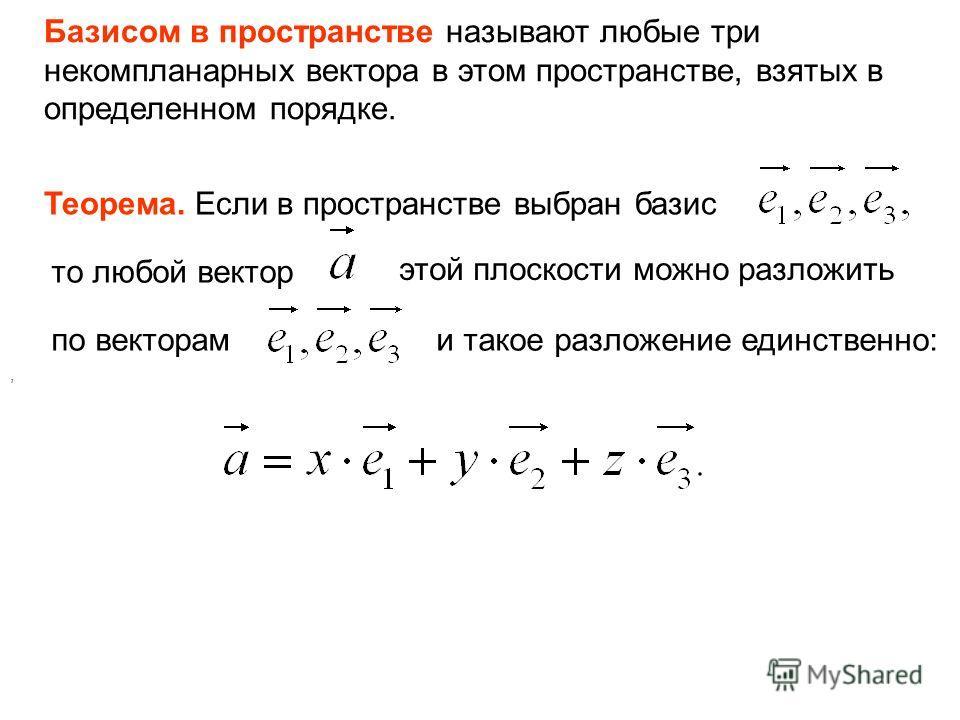 Базисом в пространстве называют любые три некомпланарных вектора в этом пространстве, взятых в определенном порядке. Теорема. Если в пространстве выбран базис то любой вектор этой плоскости можно разложить по векторам, и такое разложение единственно: