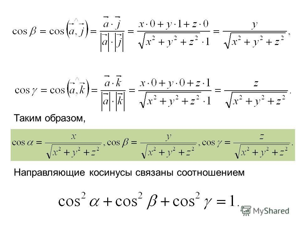 Таким образом, Направляющие косинусы связаны соотношением