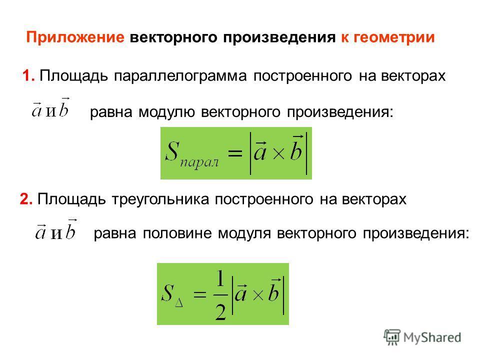 Приложение векторного произведения к геометрии 1. Площадь параллелограмма построенного на векторах равна модулю векторного произведения: 2. Площадь треугольника построенного на векторах равнаполовине модуля векторного произведения: