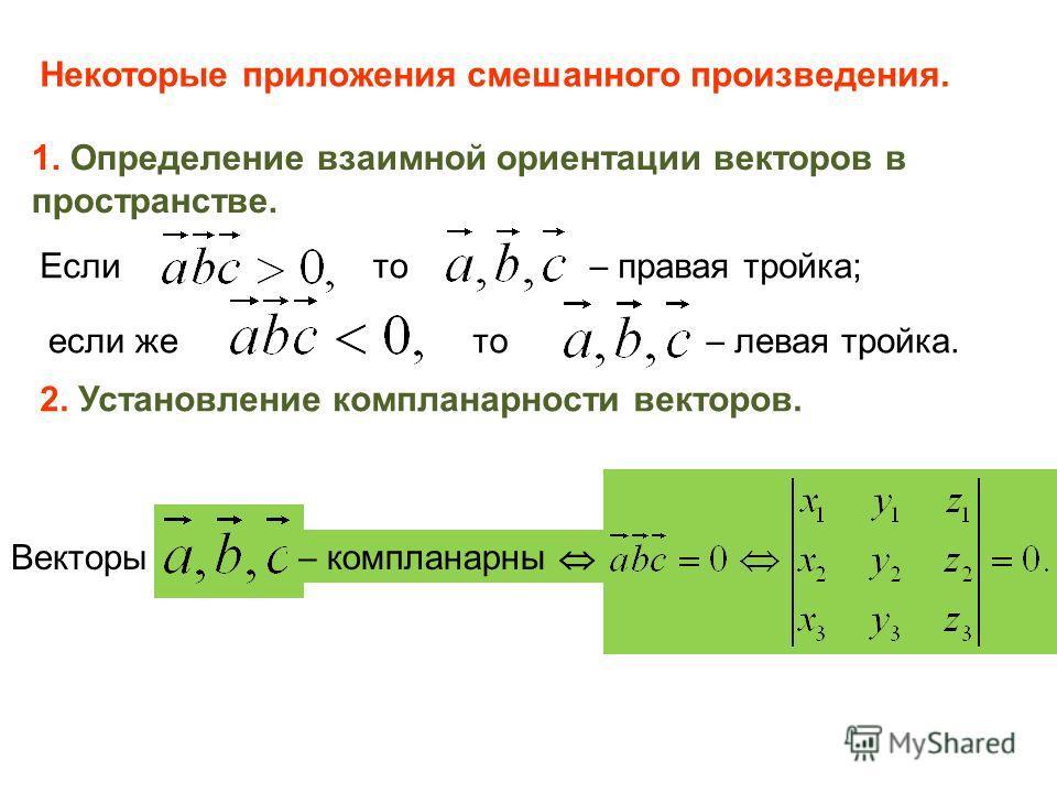 Некоторые приложения смешанного произведения. 1. Определение взаимной ориентации векторов в пространстве. Если то правая тройка; если же то левая тройка. 2. Установление компланарности векторов. Векторы компланарны