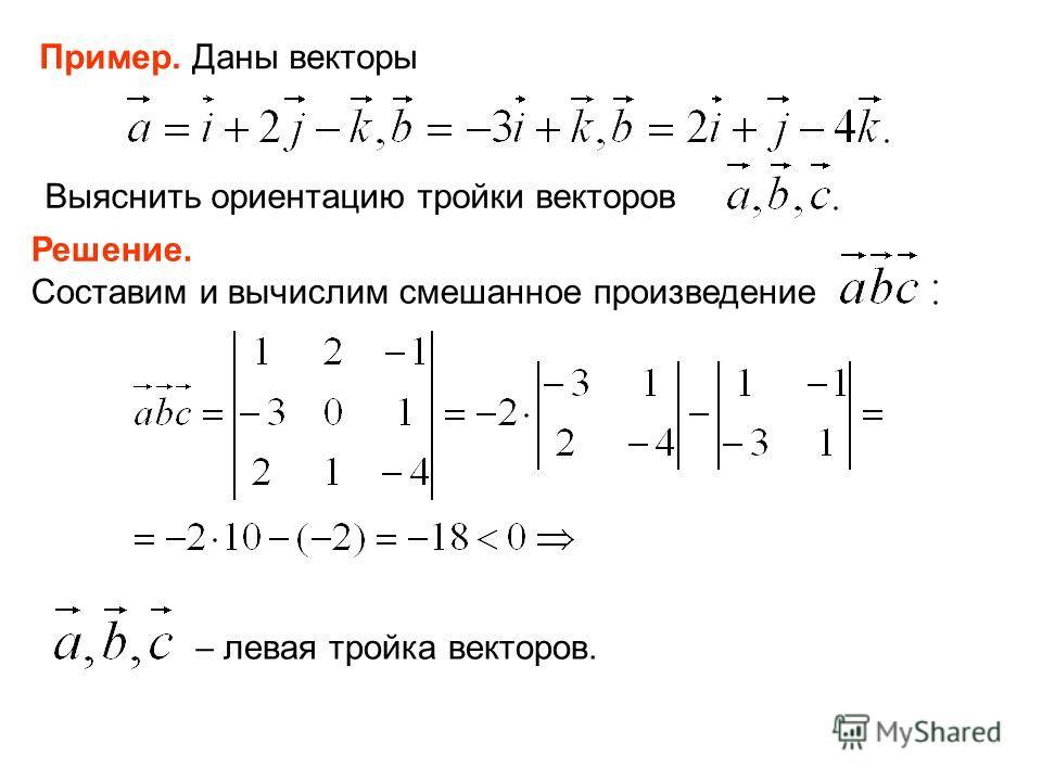 Пример. Даны векторы Выяснить ориентацию тройки векторов Решение. Составим и вычислим смешанное произведение левая тройка векторов.