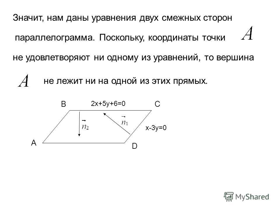 Значит, нам даны уравнения двух смежных сторон параллелограмма. Поскольку, координаты точки не удовлетворяют ни одному из уравнений, то вершина не лежит ни на одной из этих прямых. A BC D 2x+5y+6=0 x-3y=0