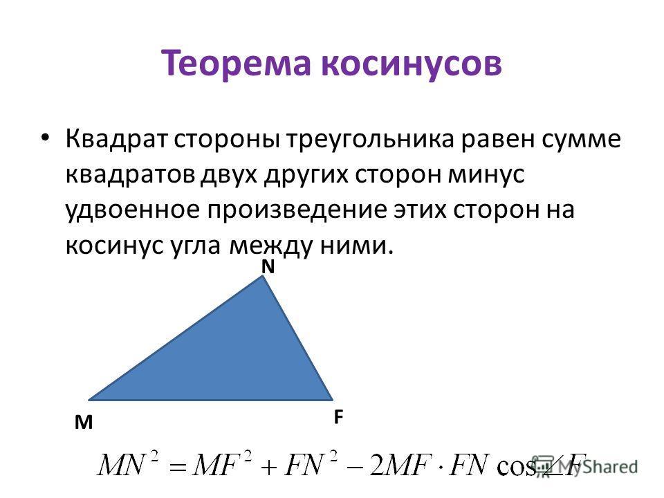 Теорема косинусов Квадрат стороны треугольника равен сумме квадратов двух других сторон минус удвоенное произведение этих сторон на косинус угла между ними. M F N