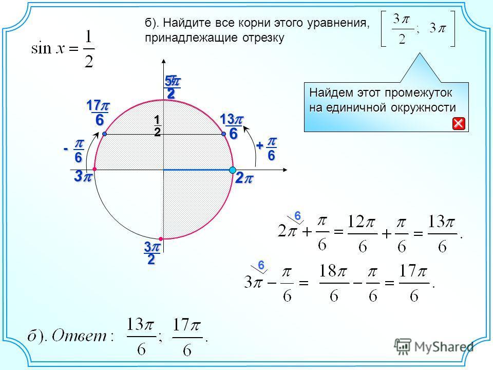 23 2 б). Найдите все корни этого уравнения, принадлежащие отрезку 2 25 Найдем этот промежуток на единичной окружности 6 12 613 6 + 3 6- 617 6