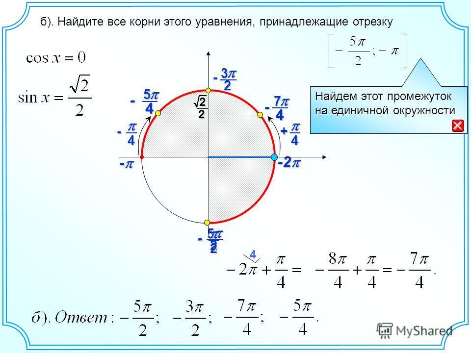 25 - -2 -2 - - б). Найдите все корни этого уравнения, принадлежащие отрезку 4 Найдем этот промежуток на единичной окружности 4+ 2- 23 - 4 7 - 4- 4 5 - 22