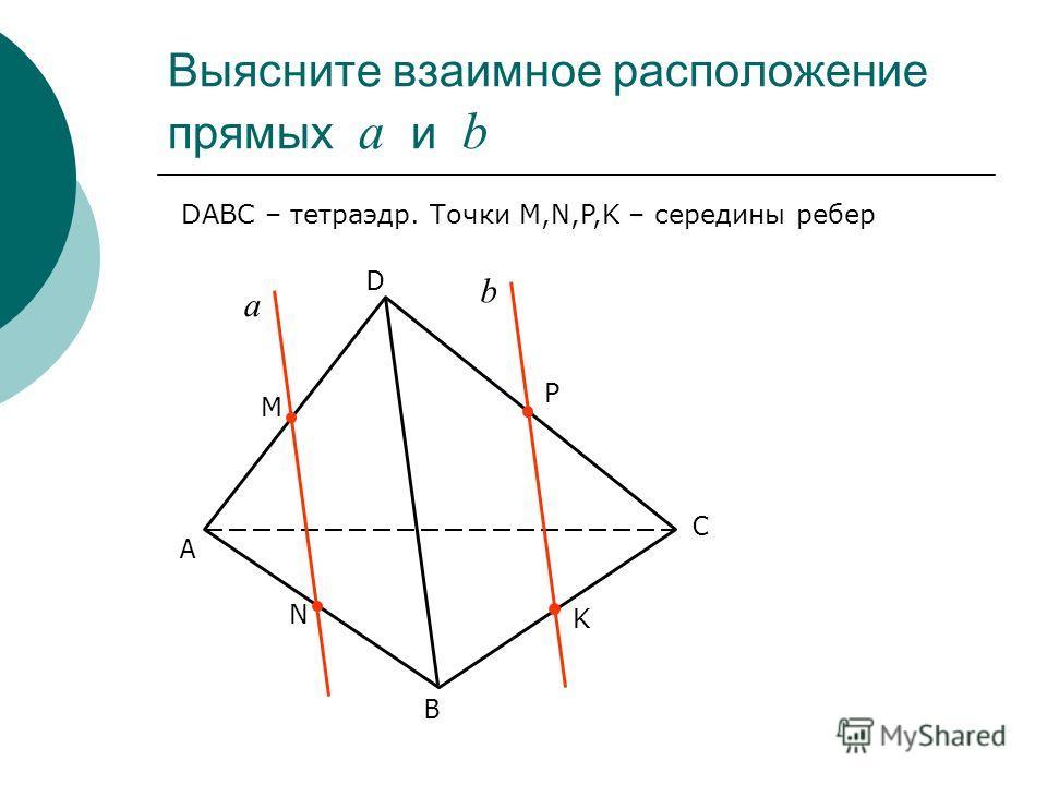 Выясните взаимное расположение прямых а и b С D В А а b DABC – тетраэдр. Точки M,N,P,K – середины ребер М Р N K
