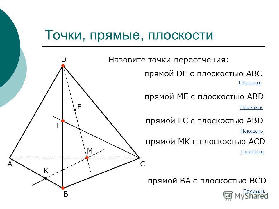 Точки, прямые, плоскости А В С D E F K M Назовите точки пересечения: прямой DE с плоскостью АВС прямой МE с плоскостью АВD прямой FC с плоскостью АВD прямой MK с плоскостью АСD Показать прямой ВА с плоскостью ВСD Показать