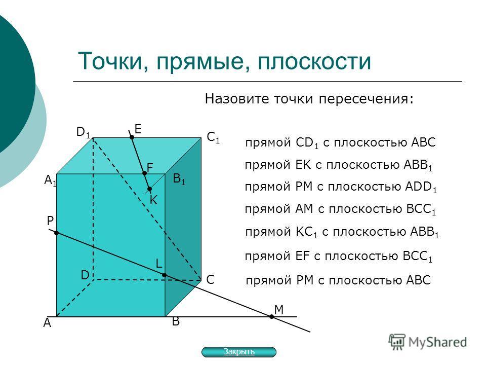 Точки, прямые, плоскости А В С прямой СD 1 с плоскостью АВС прямой EK с плоскостью АBB 1 прямой PM с плоскостью АDD 1 прямой AM с плоскостью BCC 1 D А1А1 В1В1 С1С1 D1D1 E F K M P L прямой KC 1 с плоскостью ABB 1 прямой EF с плоскостью BCC 1 прямой PM