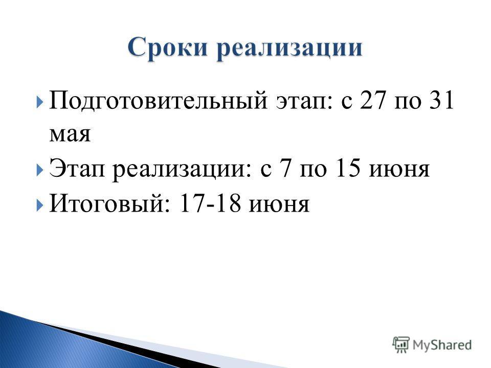 Подготовительный этап: с 27 по 31 мая Этап реализации: с 7 по 15 июня Итоговый: 17-18 июня