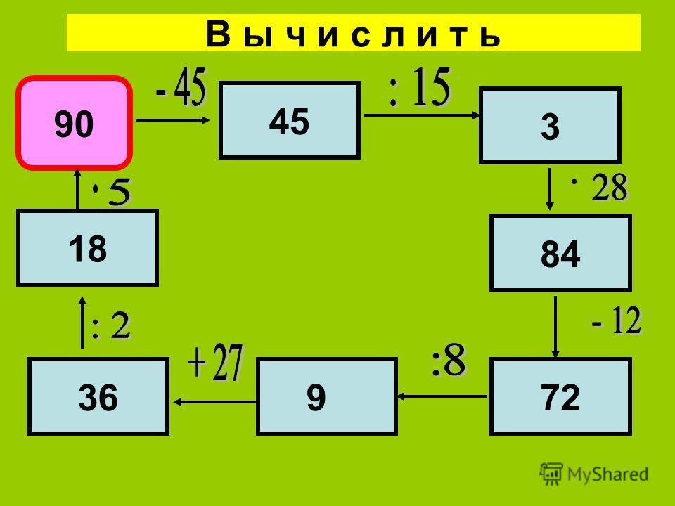 В ы ч и с л и т ь 90 45 3 84 72936 18