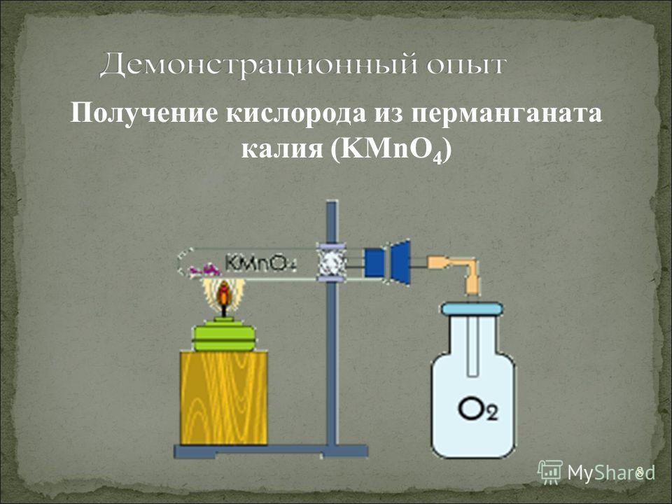 Получение кислорода из перманганата калия (KMnO 4 ) 8
