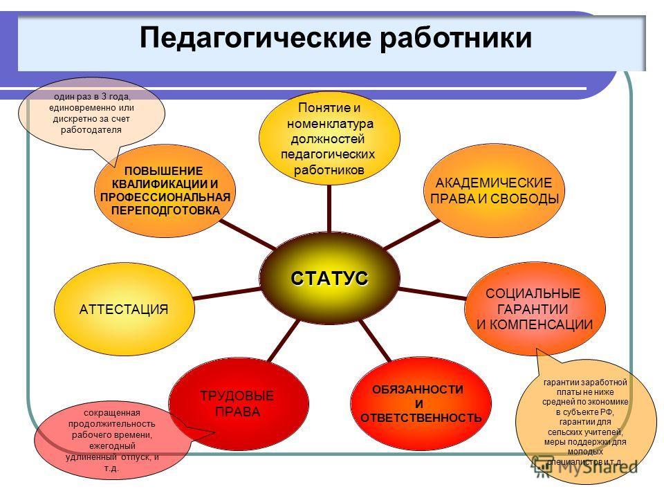 Статус права и обязанности педагога