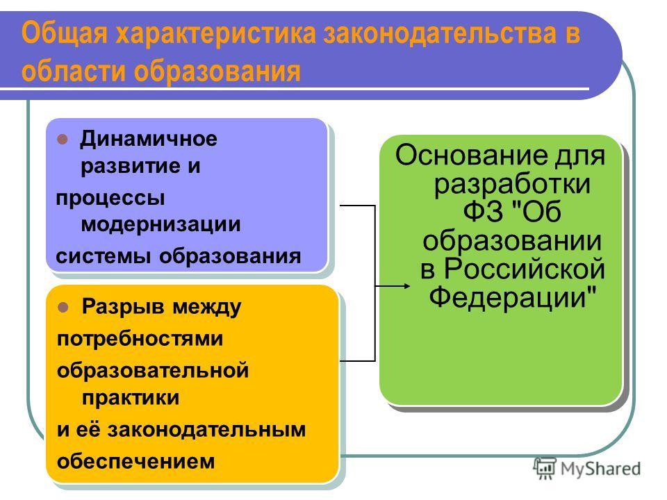 Общая характеристика законодательства в области образования Динамичное развитие и процессы модернизации системы образования Динамичное развитие и процессы модернизации системы образования Разрыв между потребностями образовательной практики и её закон